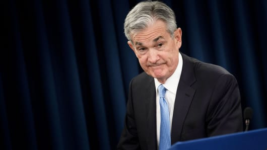 Federal Reserve Chairman Jerome Powell leaves after a press briefing after a Federal Open Market Committee meeting March 20, 2019 in Washington, DC.