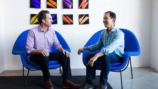 Rob Salvagno, Cisco's head of corporate development and investments, left, with Decibel founder Jon Sakoda