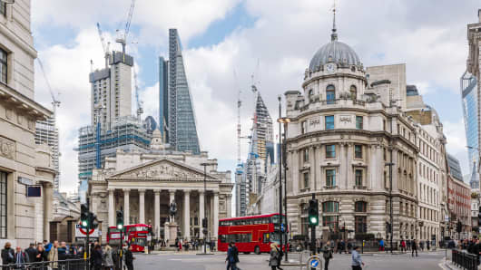 City of London financial district with Royal Exchange building.