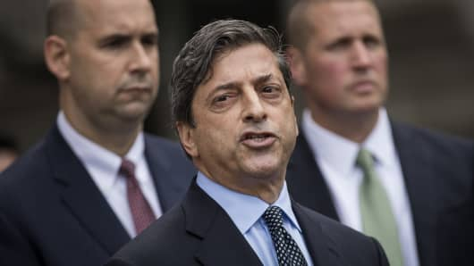 Deputy U.S. Attorney for the Southern District of New York Robert Khuzami speaks to the media about the Michael Cohen case outside of federal court August 21, 2018 in New York City.