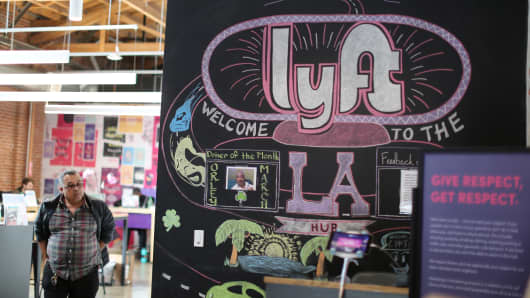 The Lyft Driver Hub is seen in Los Angeles, California.