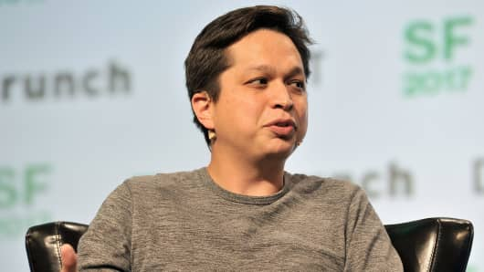 Pinterest Co-founder and CEO Ben Silbermann speaks at the TechCrunch Disrupt conference in San Francisco on September 18, 2017.