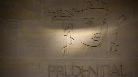 Prudential's logo on a wall outside its headquarters in London