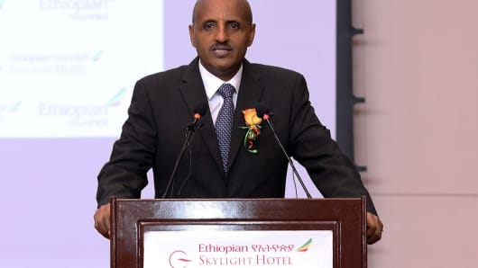 CEO of Ethiopian Airlines Tewolde Gebremariam makes a speech during an event organized by Ethiopian Airlines to mark the International Women's Day at Skylight Hotel in Addis Ababa, Ethiopia on March 8, 2019.