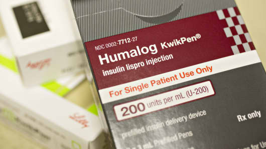 A box of Eli Lilly & Co. Humalog brand kwikpen insulin delivery devices are arranged for a photograph at a pharmacy in Princeton, Illinois.