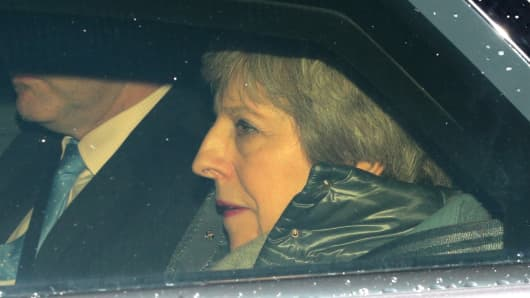 British Prime Minister Theresa May leaves Downing Street on March 12, 2019 in London, England.