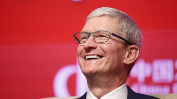 CEO of Apple Tim Cook attends China Development Forum 2019 at the Diaoyutai State Guesthouse on March 23, 2019 in Beijing, China.