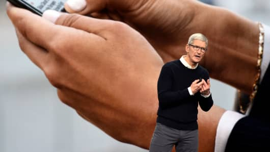 Apple Inc. CEO Tim Cook speaks during a company product launch event at the Steve Jobs Theater at Apple Park on March 25, 2019 in Cupertino, California.