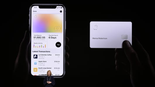 Jennifer Bailey, vice president of Apple Pay, speaks during an Apple product launch event at the Steve Jobs Theater at Apple Park on March 25, 2019 in Cupertino, California.