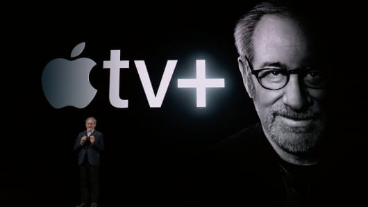 Steven Spielberg talks about Apple TV+ at the Apple Spring Event on March 25th, 2019.