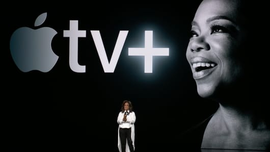 Oprah Winfrey speaking at the Apple Spring Event on March 25th, 2019.