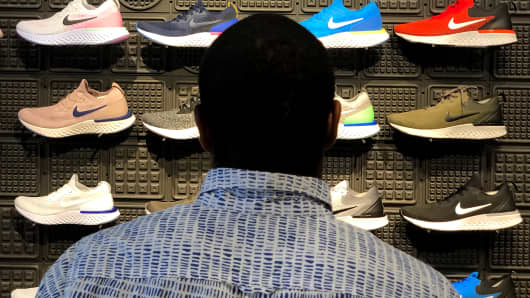 Nike shoes are displayed at a Nike Store in San Francisco, California.