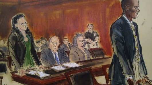 A courtroom sketch of Federal Defender Sylvie Levin, Michael Avenatti, Federal Defender Amy Gallicchio, Assistant US Attorney Robert Boone.