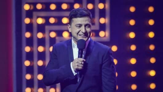 Volodymyr Zelensky candidate for the post of President of Ukraine during the concert program of the studio 'Kvartal 95'.