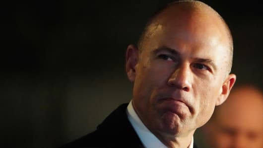 Lawyer Michael Avenatti speaks to the media after he walks out of federal court in New York, New York, U.S., March 25, 2019.