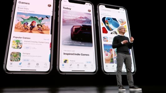 Tim Cook, chief executive officer of Apple Inc., speaks during a call at Steve Jobs in Cupertino, California, on Monday, March 25, 2019.