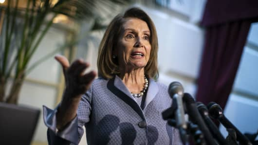 U.S. House Speaker Nancy Pelosi, a Democrat from California, speaks to members of the media while departing a House Democratic Caucus meeting on Capitol Hill in Washington, D.C., March 26, 2019.