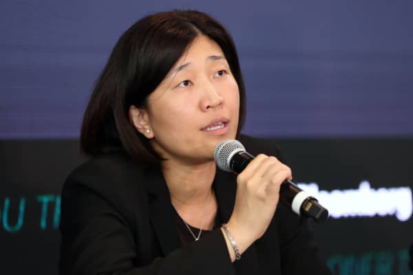 Jenny Lee, managing partner at GGV Capital, speaks during the Bloomberg Sooner Than You Think technology summit in Singapore, on Thursday, Sept. 6, 2018.