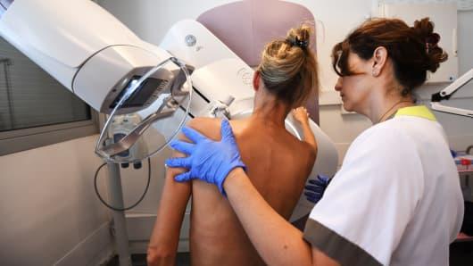 A patient has a mammogram.