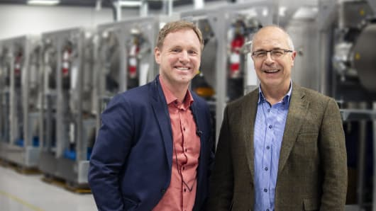Thomas Öström (l) and Joachim Karthäuse (R), founders of Climeon, a Stockholm, Sweden-based renewable energy company that produces power using low-temperature heat from geothermal or industrial waste sources.