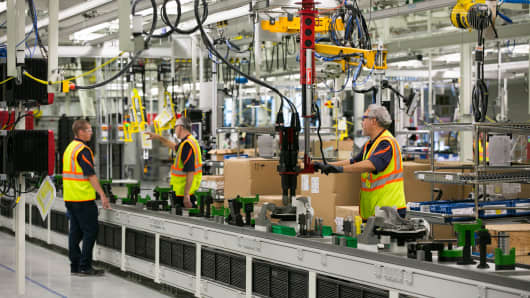 Workers assembling parts of a Volvo AB S60 sedan at the Volvo Cars USA plant in Ridgeville, South Carolina, U.S., on Wednesday, June 20, 2018.