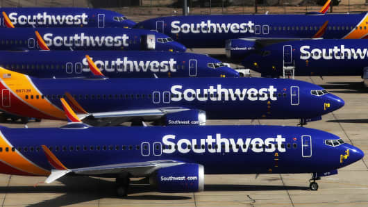A number of Southwest Airlines Boeing 737 MAX aircraft are parked at Southern California Logistics Airport on March 27, 2019 in Victorville, California. Southwest Airlines is waiting out a global grounding of MAX 8 and MAX 9 aircraft at the airport.