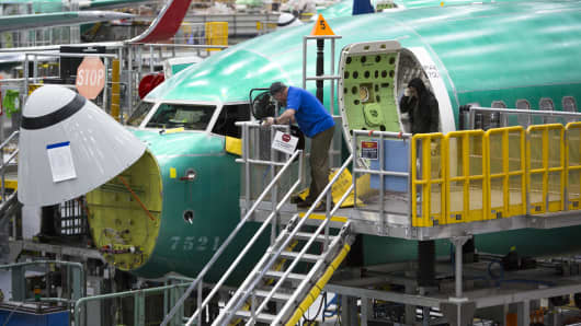 Employees work on Boeing 737 MAX airplanes at the Boeing Renton Factory in Renton, Washington on March 27, 2019.