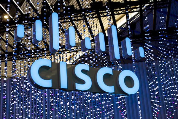 Cisco logo exhibited during the Mobile World Congress, on February 28, 2019 in Barcelona, Spain.
