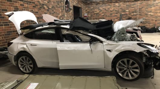 Security researchers bought this wrecked Model 3 to evaluate the data that remains in the car's computers after a crash.