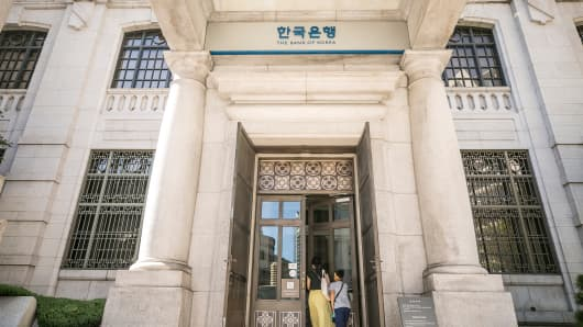 Visitors enter the Bank of Korea (BOK) museum at the central bank's headquarters in Seoul, South Korea, on Thursday, Aug. 16, 2018.