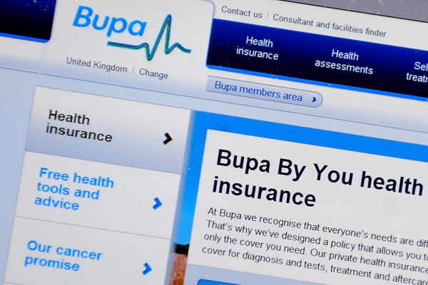 General view of BUPA website page.