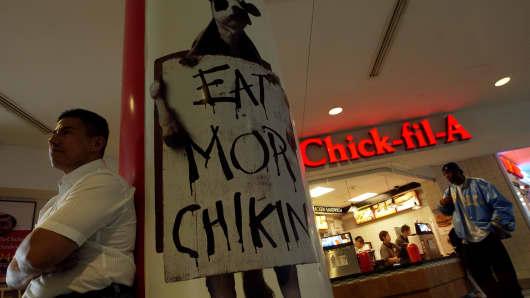 A Chick-fil-a restaurant at Denver International Airport.