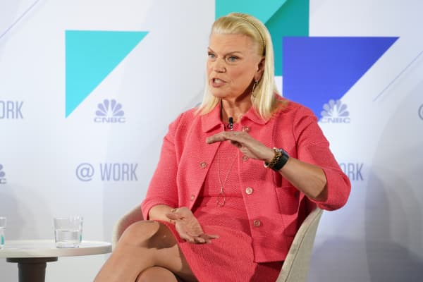 Ginni Rometty, Chair, President and CEO of IBM, speaking at the @Work event in New York City, on April 2, 2019.