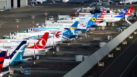 An aerial photo shows several Boeing 737 MAX airplanes grounded at Boeing Field in Seattle, Washington, U.S. March 21, 2019.