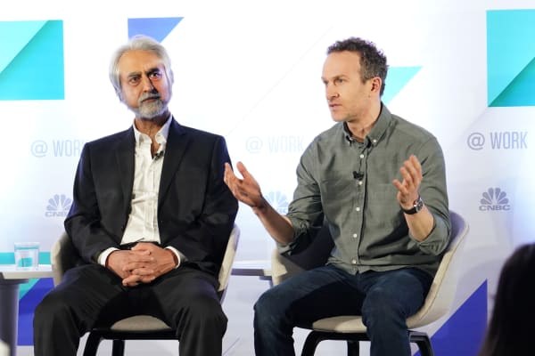 Vasant Dhar (left) and Jason Fried during a panel discussion at the @Work event in New York City on April 2, 2019.