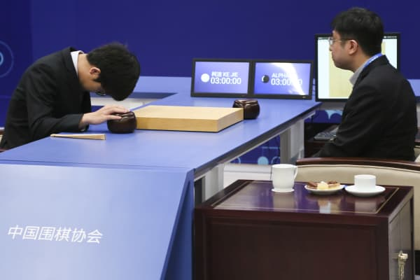 The World's top human Go player, 19-year-old Ke Jie (L) competes against AI program AlphaGo, which was developed by DeepMind, the artificial intelligence arm of Google's parent Alphabet. Machine won the three-game match against man in 2017. The AI didn't lose a single game.