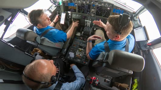 Boeing Chairman, President and CEO Dennis Muilenburg joined Boeing test pilots aboard a 737 MAX 7 flight for a demonstration of the updated MCAS software.