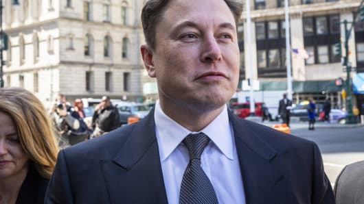 Elon Musk, chief executive officer of Tesla Inc., arrives at federal court in New York, on Thursday, April 4, 2019.
