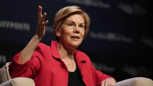 Democratic presidential candidate Sen. Elizabeth Warren, D-Mass., speaks at the Heartland Forum held on the campus of Buena Vista University in Storm Lake, Iowa, Saturday, March 30, 2019.