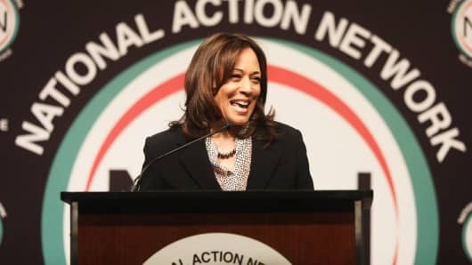 Democratic presidential candidate U.S. Sen. Kamala Harris (D-CA) speaks at the National Action Network convention on April 5, 2019 in New York City.