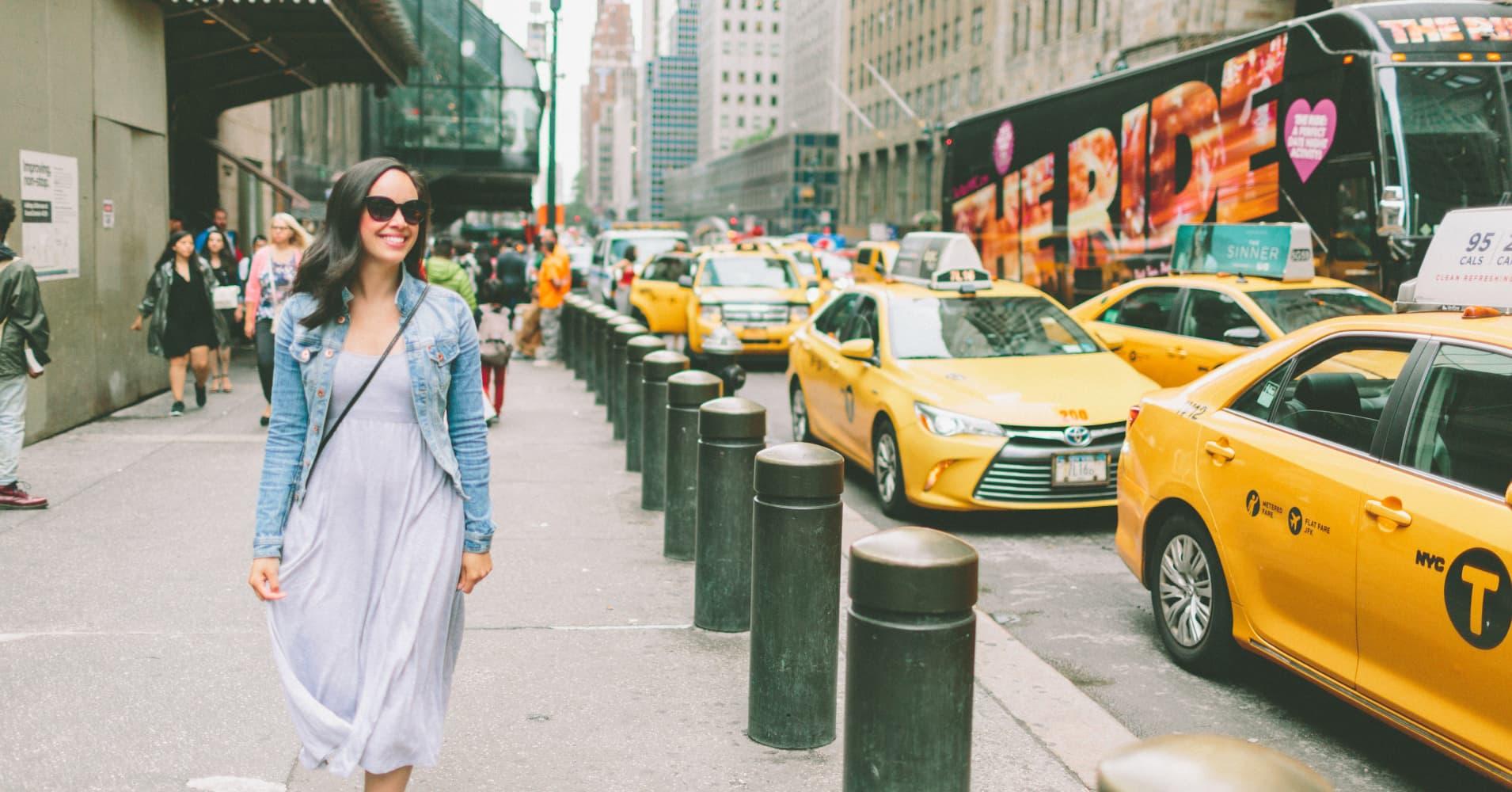 Woman walking in New York City