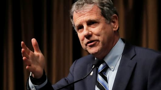 Senator Sherrod Brown (D-OH), speaks at the 2019 National Action Network National Convention in New York, April 5, 2019.