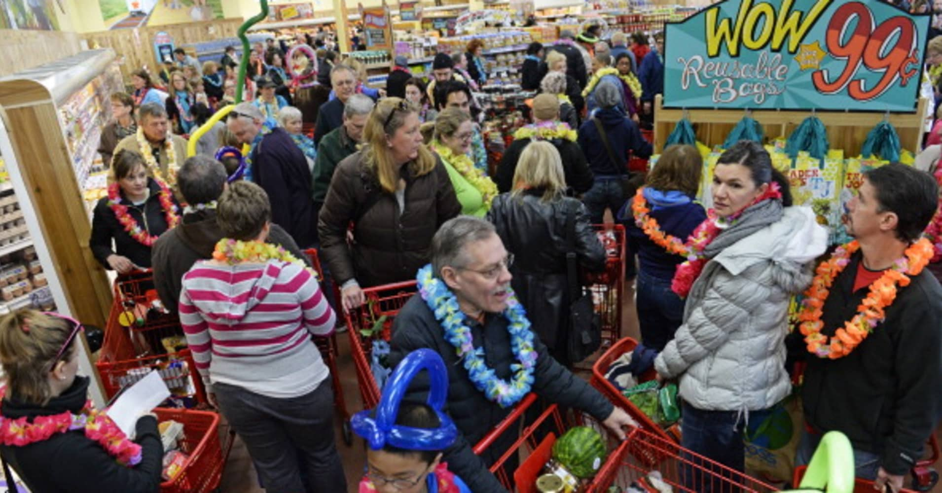 People crowd into the new Trader Joe's, located on Colorado Blvd. and East 8th Avenue in Denver, for the grand opening of specialty grocer.