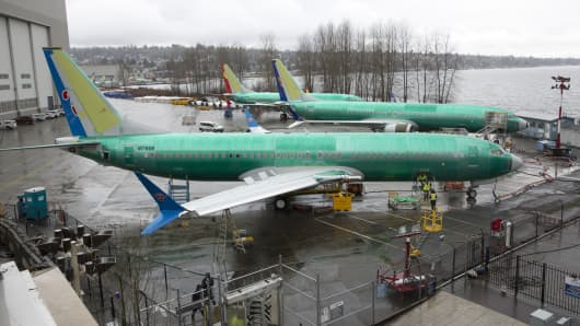 A Boeing 737 MAX 8 for China Southern Airlines (front) is pictured at the Boeing Renton Factory in Renton, Washington on March 12, 2019.