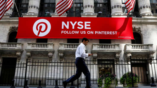 A Pinterest banner hangs on the facade of the New York Stock Exchange (NYSE) in New York City, September 22, 2017