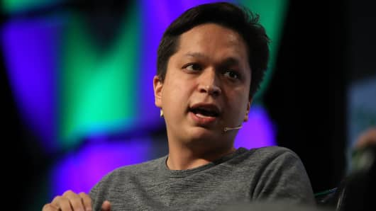 Pinterest CEO Ben Silbermann speaks in talks with Matthew Lynley of TechCrunch during TechCrunch Disrupt SF 2017 September 18, 2017 in San Francisco, California.