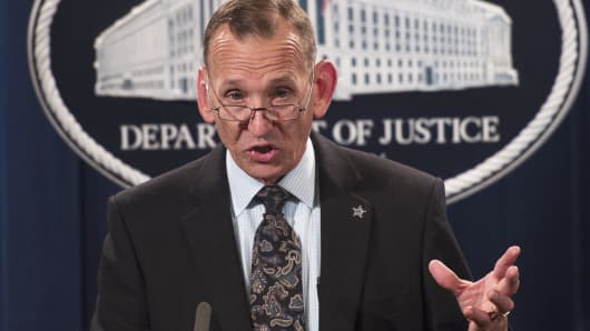 Director of the US Secret Service Randolph Alles speaks during a press conference at the Department of Justice in Washington, on October 26, 2018.