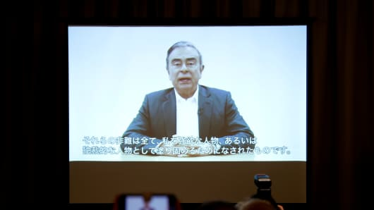 A video statement made by the former Nissan Motor chairman Carlos Ghosn is shown on a screen during a news conference by his lawyers at Foreign Correspondents' Club of Japan in Tokyo, Japan April 9, 2019.