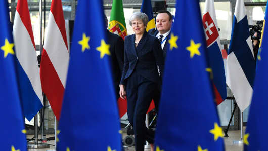British Prime Minister Theresa May arrives for a two-day summit of European Union leaders on March 21, 2019 in Brussels, Belgium.