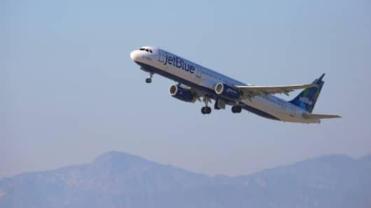 JetBlue Airways Airbus A321 at Los Angeles International Airport on June 18, 2017 in Los Angeles, California.